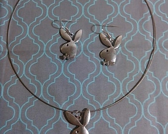 Playboy Bunny Necklace and Earring Jewelry Set