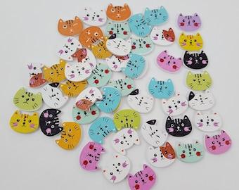 Wooden Cat Face Buttons 52 pieces