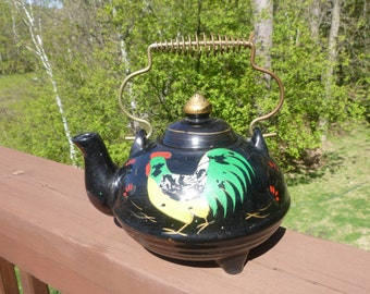 Hand Painted Rooster 3 Footed Teapot, Redware or Red Clay Tea Pot.