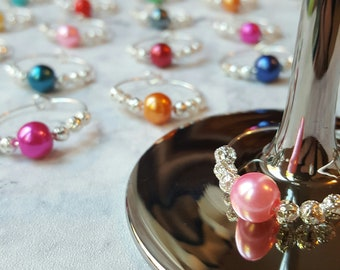 Hand Made Coloured Bead with Silver Plated Decoration Wine Glass Charms! Free UK shipping!