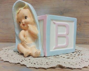 Vintage Kitsch Baby Nursery Ceramic Planter/Vase ~ ABC Block Baby with Blanket ~ Made in Japan R/B Relpo Rubens