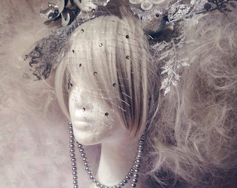 Marie Antoinette Masquerade Style Silver Diamante Floral Detail Wig With LED Glitter Butterflies