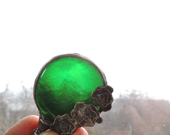 raw, bottle green,  wonderful glass, STATEMENT pendant, Handmade Art Jewelry, One of a kind,  valentine gift, green necklace, green glass