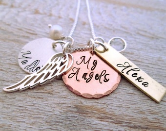 My Angels - Mothers Necklace - Hand Stamped Jewelry - Personalized Necklace - Angel Necklace
