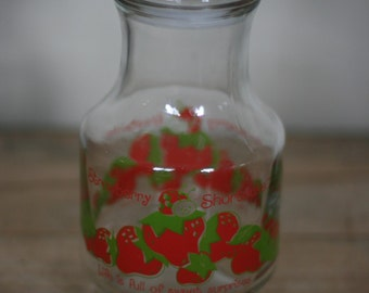 vintage strawberry shortcake glass water decanter 1980
