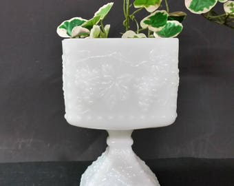 Vintage milk glass pedestal vase, planter, candle holder, candy dish. Grape design
