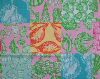 "multi what the shell patch dobby cotton fabric square 16""x16"" ~ lilly pulitzer"