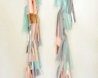 PASTEL PAIR - Two, 5 FT. Tissue Paper Tassel Towers, Tissue Paper Tassels,Wedding,Tassel Garland, Party Banner,Balloon Tassels, Balloon Tail