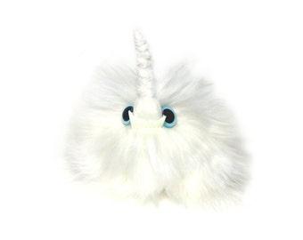 Unicorn Puff Keychain Faux Fur Monster Bag Charm Glow-In-The-Dark Fangs (Keychain or Bag Charm Option)