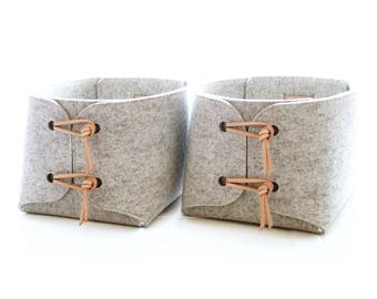 Storage Baskets with natural Leather details - Two large storage baskets - wool felt storage bins - storage box - minimalist laundry hampers