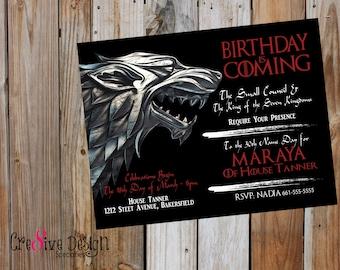 Game of thrones themed bracelet stark house stark birthday is coming game of thrones custom printable invitation got got house filmwisefo