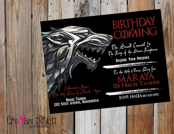 Birthday is coming game of thrones custom printable birthday is coming game of thrones custom printable invitation got got house stark house lanister winter is coming 7 kingdoms filmwisefo Choice Image