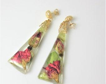 Rosebud Post Earrings, Real Flower Earrings, Pressed Flowers, Resin (2017)