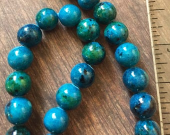 8mm Blue and Green Chrysocolla Gemstone Beads