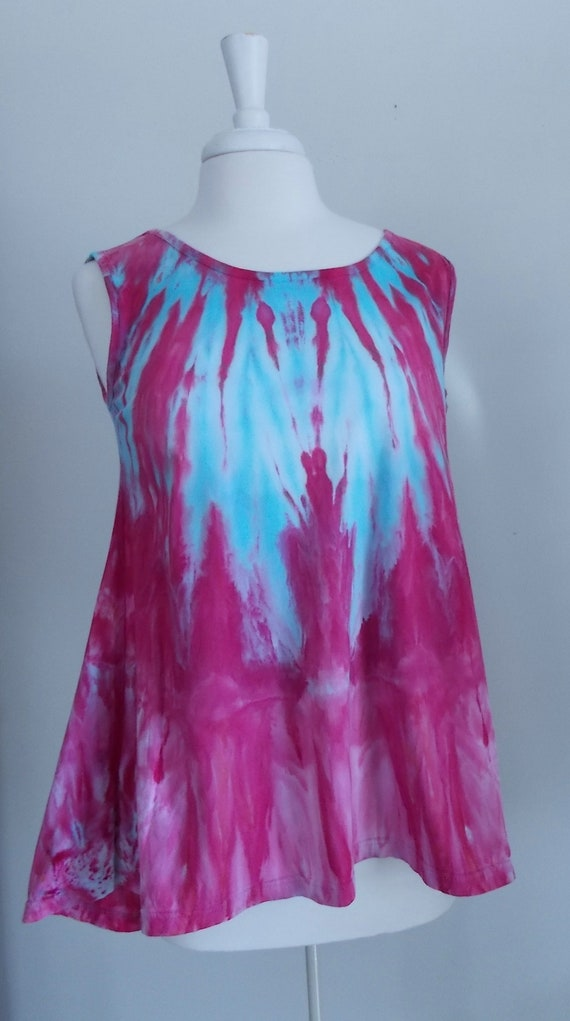 Ice dye tie dye  Hi-Lo Women's Medium Sleeveless Top