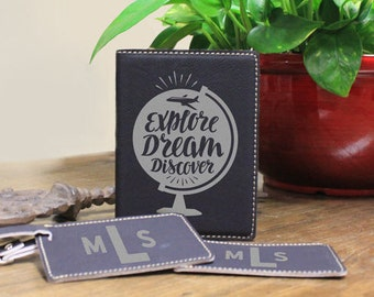 Passport Holder/Luggage Tag/Set/Passport Cover/Travel/Explore/Dream/Discover/Plane/Map/Globe/Leatherette/Engraved/Color Choices