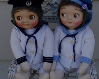 """Sailor Suit PDF pattern to fit The Little Hamptons 14"""" Googly Doll."""