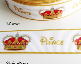 White grosgrain Ribbon says Prince in yellow & Crown Royal 22 mm sold by 50 cm