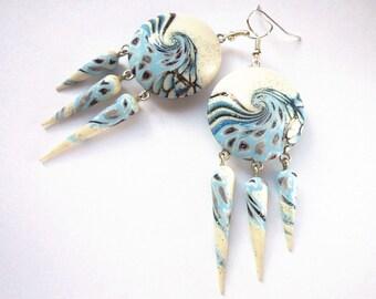 Blue earrings Light blue earrings Sky blue earrings Winter earrings Christmas earrings Chandelier blue earrings Blue Light blue Sky blue