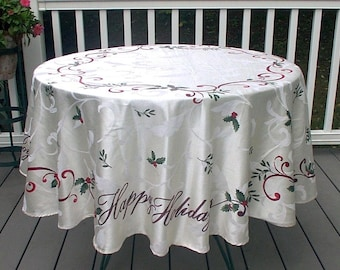 Vintage Christmas Round Tablecloth Red Green Damask Holly Happy Holidays Joy St Nicholas Square
