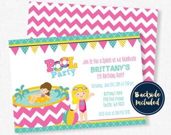 Pool Party Invitation, Splash Party Invitation, Pool Party Birthday Invitations, Swimming Party, Summer Party Invitation