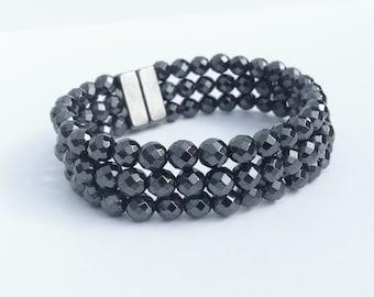 Triple stranded magnetic hematite bracelet - layered bracelet - faceted design - custom sized
