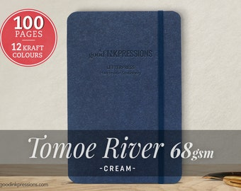 100pg TOMOE RIVER CREAM 68gsm Notebook - Perfect Gift - iPad Mini Size - Fountain Pen Friendly - Bullet Journal - Extra Durable Construction