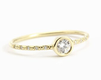 Delicate Engagement Ring, 14K Thin Gold Ring, 0.25CT Pave Diamond Ring, Gold Rings for Women, Pave Ring, Unique Rings