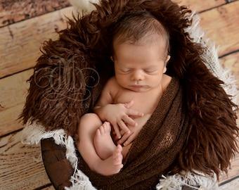 SET Dark Brown Stretch Knit Wrap Mongolian Fur Ivory Burlap Layers