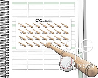 Baseball Stickers | Planner Erin Condren Plum Planner Filofax Sticker