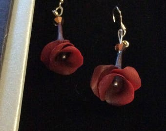Gorgeous Rich red rose earrings.