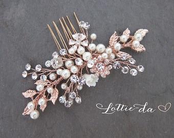 Rose Gold Bridal Comb, Rose Gold Hair Vine Comb, Wedding Hair Vine Wedding Pearl Hair Comb, Boho Wedding Headpiece - 'ZARA'