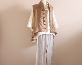 linen outfit blouse vest pants handmade to measure petite to plus size / linen vest / linen blouse / linen pants / custom color and size