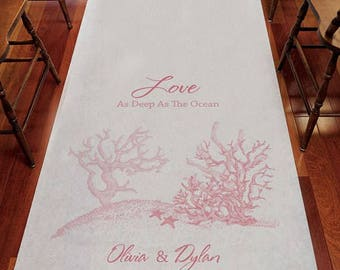 Reef Coral Personalized Aisle Runner Wedding Ceremony Decoration