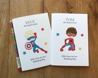 A6 Personalised Childrens Kids Boys Wedding Activity Book Pack Favour MARVEL Superhero Inspired