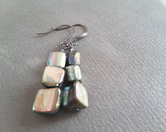 Grey Aurora Borealis Mother of Pearl Nugget Stacks . Earrings