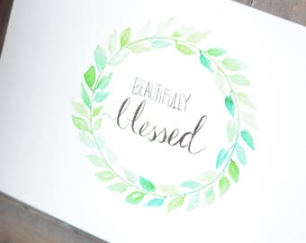 Blessed Watercolor Painting - Wreath Art