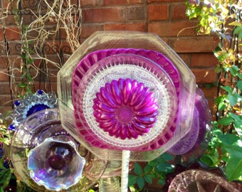 Sale!!! Magenta Squared Glass Flower