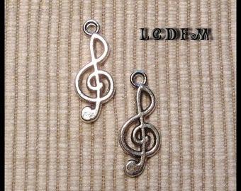 * ¤ Set of 2 pendants charms * key clef * silver - pendant: 10x24mm ¤ * #PC25