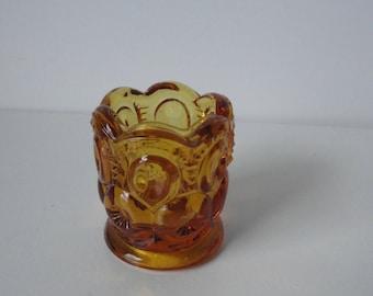 Vintage Amber Glass Toothpick Holder.
