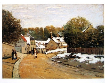 Early Snow at Louveciennes - Alfred Sisley - Fine Art Print - Reproduction Print form 1979 Vintage Book - 12 x 9