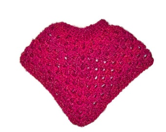 Crochet Poncho for Girl, Fuchsia With A Touch Of Orange Blended In, Toddler Size One Year, Children's Clothing