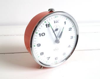 Vintage alarm clock orange 'Smiths TimeCal'