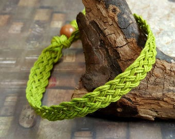 Hemp Bracelet Natural Woven Friendship Lime Green Surfer