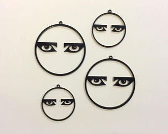 Siouxsie and the Banshees eyes hoop laser cut black earrings