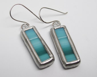 Teal Horizon - Sterling Silver Stained Glass Earrings