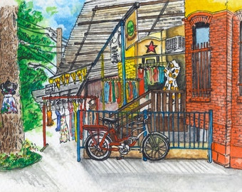 Toronto Art // Watercolor Giclee Print // Giclee Print of Original Watercolor Painting - Kensington Market (Limited Edition)