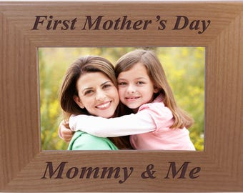 First Mother's Day Mommy and me - 4x6 Inch Wood Picture Frame - Great Gift for Mothers's Day, Birthday or Christmas Gift