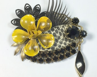 Sassy Vintage Upcycled Collage Brooch Snake Black Rhinestone Pin Pendant Mother's Day