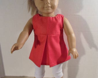 18 inch Doll Clothes --- Red Pleated Top and White Capris